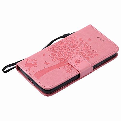 Yiizy Motorola Moto G5 Funda, árbol De Dibujo Design Premium PU Leather Slim Flip Wallet Cover Bumper Protective Shell Pouch with Media Kickstand Card Slots (Del Rosa)