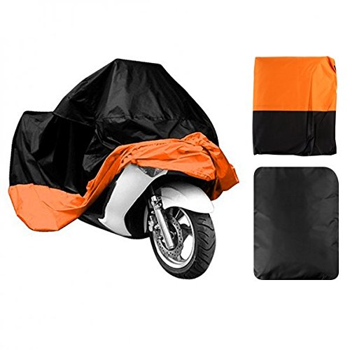 "LEANINGTECH All Season Black&Orange Waterproof Sun Motorcycle cover, Fits up to 108"" Harley Davison, Honda, Suzuki, Kawasaki, Yamaha,Street Glide Touring and More (XX Large)"