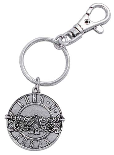 Guns N Roses Keyring Keychain Classic Pistols Band Logo Disc Official