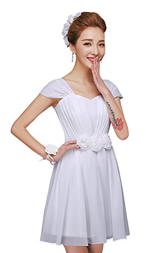 Cap Gowns Drasawee Chiffon Prom Sleeve Women's Junior Homecoming White Short Dress TEzEwq