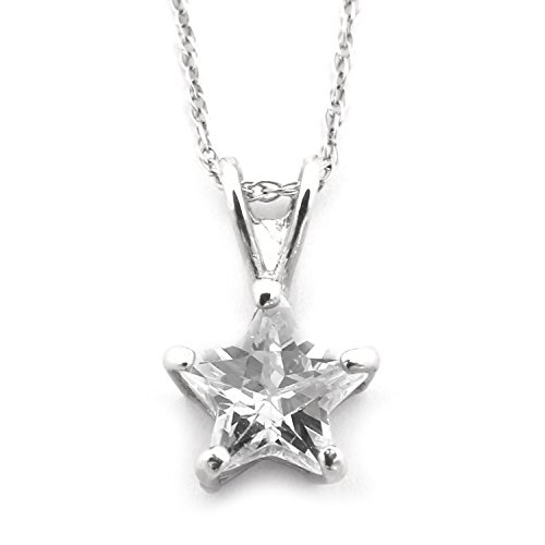 Beauniq 14k Yellow or White Gold Cubic Zirconia Small 7 Millimeters Star Solitaire Pendant Necklace