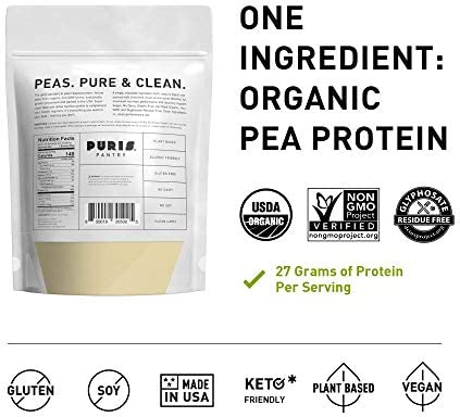PURIS Organic Pea Protein Powder - 100% Grown, Processed and Packed in USA - 2 LB Unflavored - Certified Organic, Vegan, Gluten-Free, Non-GMO - Plant Based Protein Powder - Keto-Friendly, BCAA 3