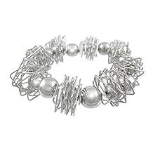 Polished Chrome Wire Wrap & Sphere Stretch Bracelet