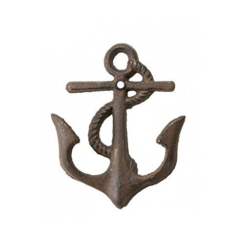 Cast Iron Anchor Hook with mounting hardware Rustic (Anchor Outdoor Decor)