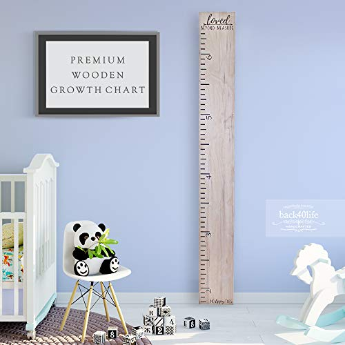 Back40Life Wooden Kids Growth Chart Ruler for Boys and Girls (No Tippy Toes - Loved Beyond Measure) (Weathered Natural) (For Chart Girls Growing)