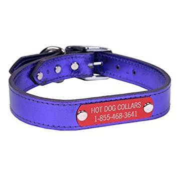 3f1ea222203a Amazon.com : Hot Dog Collars Personalized Leather Dog Collar with Engraved  Nameplate, Metallic Purple Leather, Large : Pet Supplies