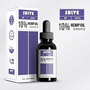 Salve Herbal: 10% Active Hemp extract drops, for anxiety, sleep and stress