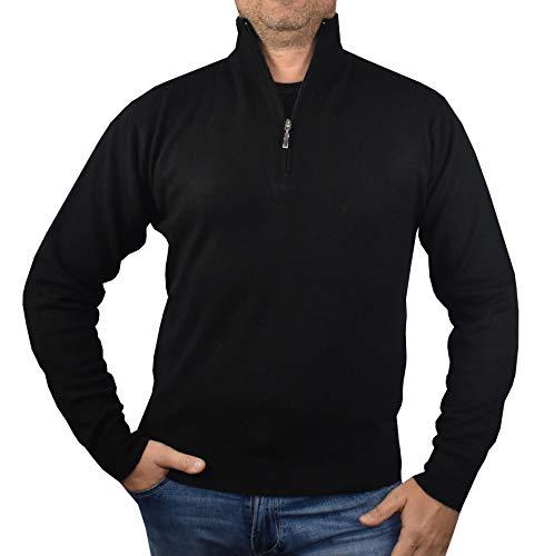 Longues Pull tricot Noir Pour 1st Manches D'hiver Pure Cachemire American 100 Demi Homme Zippéè Pullover aZrq1wa