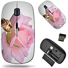 Wireless Mouse 2.4G Black Base Travel Wireless Mice with USB Receiver, Noiseless and Silent Click with 1000 DPI for Notebook pc Laptop Computer MacBook Image of Pink Love Nature Romance Petals Flower