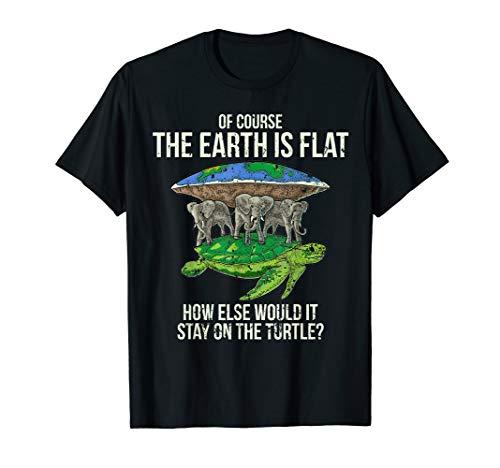 (Flat Earth Society T Shirt Turtle Elephants Men Women Gift)