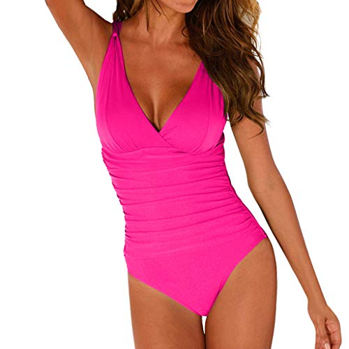 (Forthery-Women One Piece Swimsuits Control Swimwear Slimming Monokini Bathing Suits for Women Backless V Neck Swimsuit(Pink,M))