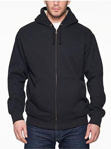 Weatherproof® Vintage Men's Full Zip Sueded Fleece Hoodie-Black, (Black Full Zip Fleece)