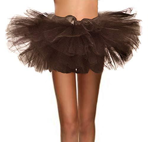 (ASSN Women's Classic 80s Mini Puffy Tutu Halloween Run Bubble Ballet Skirt 6-Layered Brown)
