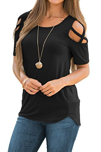 Women's Casual Summer Short Sleeve Loose Strappy Cold Shoulder Tops Basic T Shirts Blouses Black Medium