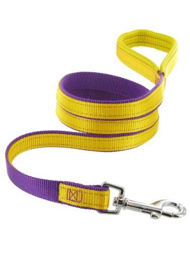 Kakadu Pet Orbit Padded Dog Lead, Nylon Leash, 1-Inch by 48-Inch, Yellow with Purple Trim, My Pet Supplies