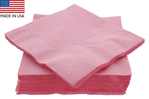 "Amcrate Big Party Pack 50 Count Pink Dinner Napkins Tableware- Ideal for Wedding, Party, Birthday, Dinner, Lunch, Cocktails. (7"" x 7"") Banquet Serving Cart"