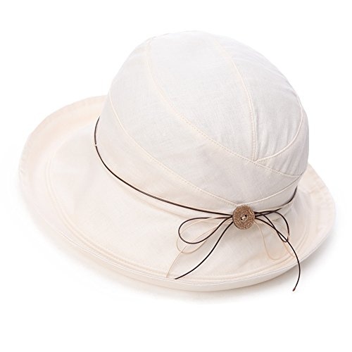 Siggi Womens UPF 50+ Cotton Linen Packable Bucket Sun Hats Wide Brim Sunhat with Chin Cord Summer Beige ()