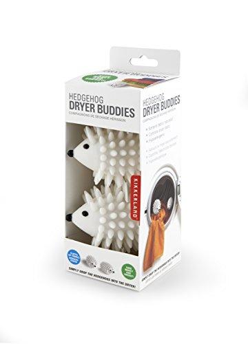 Kikkerland Hedgehog Dryer Balls, Reusable, White, Set of 2
