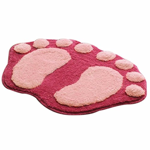 Novelty Bath Mats, Soft Cartoon Feet Design Plush Carpet Bathroom Bedroom Door Floor Shower Mat Rug Home Decor Pet Mats (Pink)