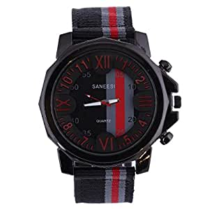 Trendy Men's Watch - Black/Red Fabric Strap, Black Dial, Black Bezel - M5, CHA098