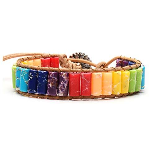 Jovivi Handmade Bohemian Woven 7 Chakra Healing Crystals Yoga Bracelets Leather Wrap Bead Bracelet Sunflower Button Adjustable