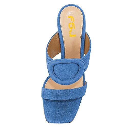 4 Heels Mules Chunky Toe Blue Chic On Size Slip Dress 15 FSJ Open Women Casual US Sandals Shoes xA60yYwq