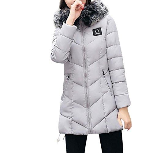 abrigo Abrigo Mujer cálido de Para Plumas KaloryWee invierno delgado mujer Chaqueta gris de de Parka A2 xqqTtFw