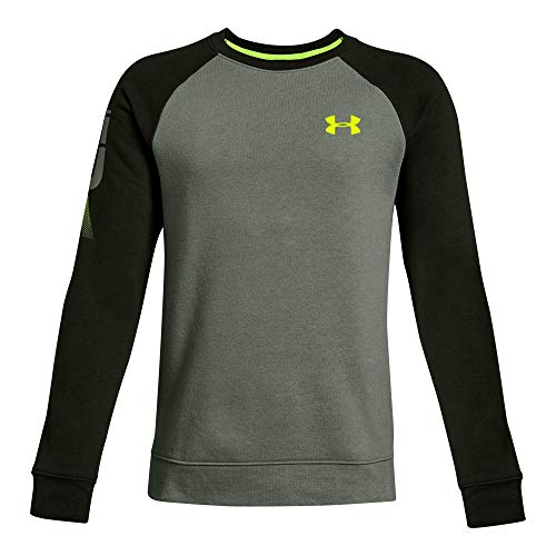 Under Armour Boys Rival Crew, Moss Green (493)/High-Vis Yellow, Youth - Under Armour Sweatshirt Boys