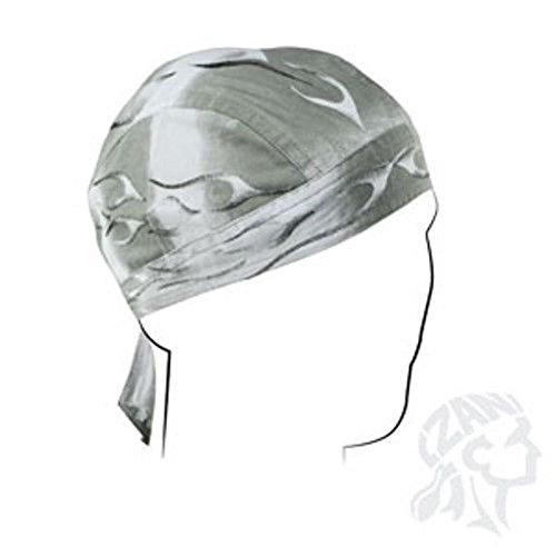 Grey Black Tank Pinstripe Flames Flydanna Deluxe Biker Durag Head Wrap Skull Cap (Deluxe Cap Skull)