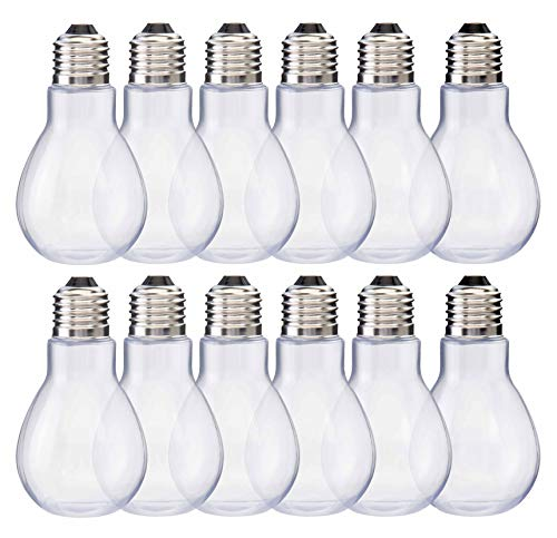 "Home Collectives Fillable Light Bulb Containers, 12 Pack – Clear Plastic Candy Jars, Party Favors, Decorative Centerpieces, Arts and Crafts Supplies - Twist Off Cap, Freestanding Bottom, 4"" Tall -"