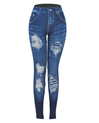 CLOYA Women's Denim Print Fake Jeans or Solid Colors Seamless Full Length Leggings for All Seasons. (Large/XL, Blue ()
