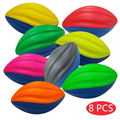 Macro Giant 5 Inch Safe Soft Foam Spiral Football, Set of 8, Assorted Colors, Training Practice, Kid Toy, Yard Game, Indoor -