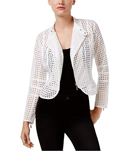 bar III Womens Eyelet Jacket, White, Medium