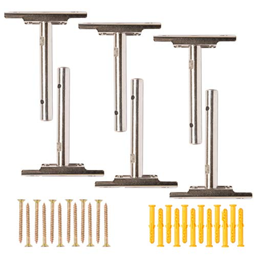 Invisible Floating Shelf Brackets (6 Pack) | Complete Hardware Kit for Easily Mounting Wood, Custom & DIY Shelves | Adjustable Hidden Blind Supports for Concealed Shelves | Heavy Duty Rod Bracket