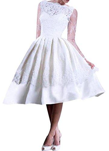 Épissure De Dentelle Cromoncent De Femmes Manches Longues Haute Robe Midi Swing Plissée Taille Blanc