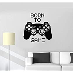 Stickers Vinyl Wall Art Decals Letters Quotes Decoration Born to Game Video Game Computer Joystick Gaming Teen Boys Room Wall