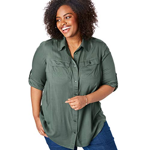 - Woman Within Women's Plus Size Utility Button Down Shirt - Pine, 14/16