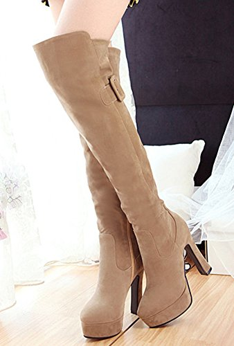 The Knee Apricot Faux Heels Platform High Side IDIFU Buckle High Block Boots Dressy Suede Womens Over Zipper qHx7Oax