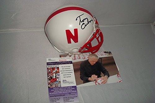 Tom Osborne Signed Nebraska Cornhuskers Mini Helmet With Picture JSA Authenticated