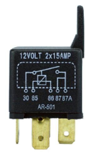 5-Prong ISO Relay 12 Volt 30A (2 x 15A), Normally Open SPNO Contact With Bracket