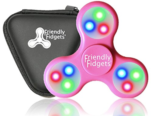Friendly Fidgets LED Fidget Spinner Prime With On Off Switch And Carrying Case (NEW VERSION) Stress Reducing EDC Tri Spinning Hand Fidget Toys With Lights for Kids & Adults (LED Spinner, Pink)