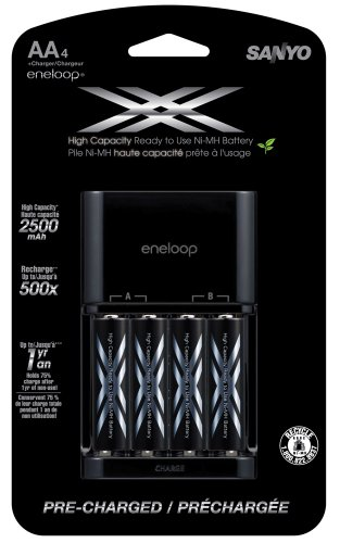 - eneloop XX 2500mAh Typical / 2400 mAh Minimum, High Capacity, 4 Pack AA Ni-MH Pre-Charged Rechargeable Batteries with 4 Position Charger