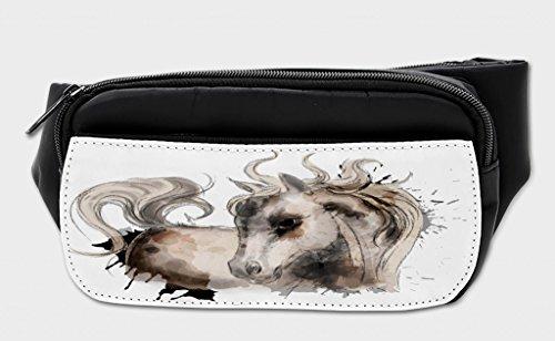 (Lunarable Horse Bumbag, Equestrian Farm Animal Art, Fanny Pack Hip Waist Bag)
