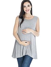 Smallshow Maternity Tops Sleeveless Tunic with Discrete Nursing Access