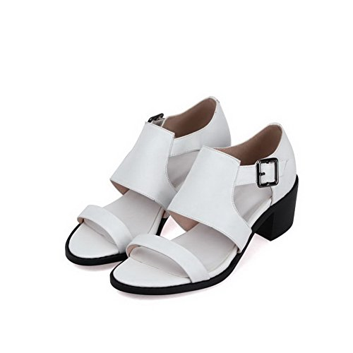 AmoonyFashion Womens Buckle Open Toe Kitten-Heels Cow Leather Solid Sandals White pxlgKj5