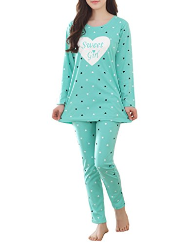 MyFav Girls' Comfy Sleepwear Hearts Shape Pajama Set Sweet Dream Leisure ()