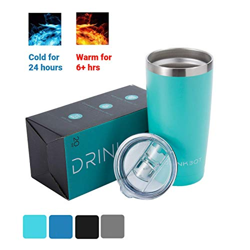 (Drinkbot 20 Oz Stainless Steel Double Vacuum Insulated Stemless Travel Tumbler, Coffee Tumbler with Sliding Lid, Powder Coated Sweat Free Travel Mug, Thermal & Ice Coffee Cup (Turquoise, 20 Oz))