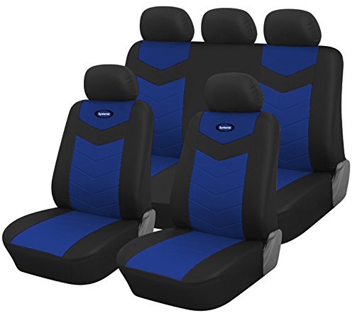 Full Set Protective Vinyl Car Seat Covers for Ford Fiesta 2011-2019 (Blue)