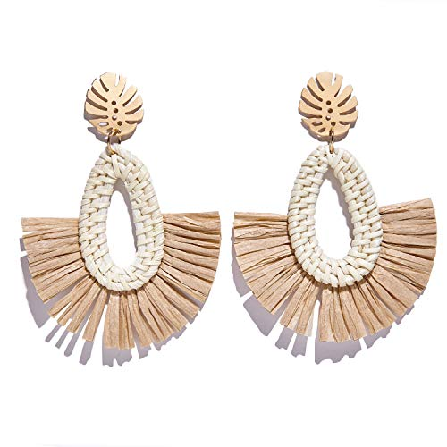 Rattan Earrings for Women Lightweight Handmade Woven Drop Dangle Stud Earrings Braid Wicker Straw Geometric Statement Earring (H)