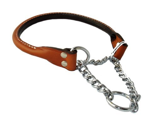 Auburn Leathercrafters Leather Martingale Dog Collar Rolled - 20 - Tan